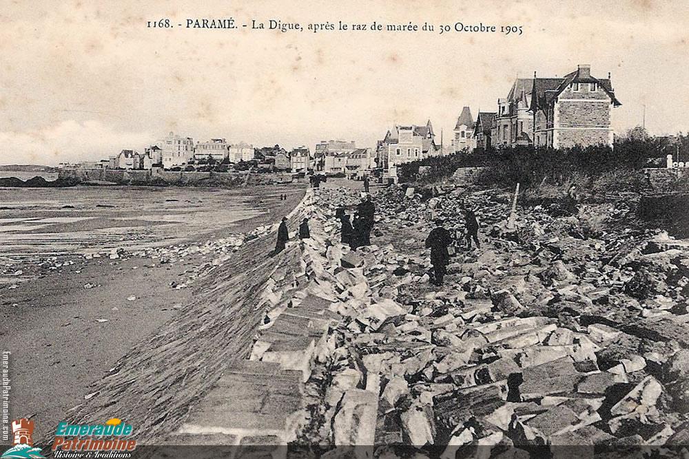 Digue de Paramé après le raz de marée de 1905